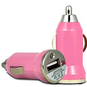 ONX3 HTC Desire 200 Rapid Bullet In Car Charger USB con luz LED de carga (Baby Pink)