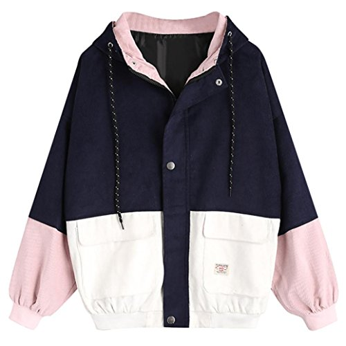 Women Corduroy Jacket ,Vanvler Ladies Long Sleeve Windbreaker Overcoat Patchwork Coat (XL, Navy) (Corduroy Flower Coat)