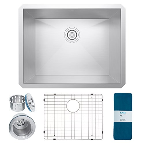 Zuhne Urbino 23 Inch Undermount Single Bowl 16 Gauge Zero Radius Stainless Steel Kitchen Sink for 27 Inch - Sheets Stainless Designer Steel