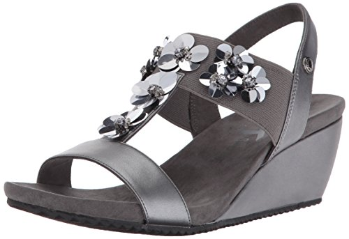 Sandal Synthetic Cassie Synthetic Women's Wedge Anne Klein Pewter Uw6qXX