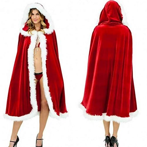 mas Deluxe Velvet Cloak Mrs Santa Cape Red Sexy Cappa Hooded Robe Cosplay Costume (Small/40) ()