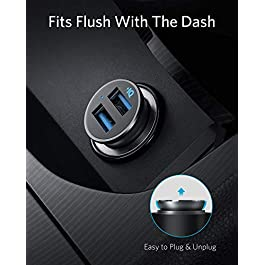 Anker Car Charger, Mini 24W 4.8A Metal Dual USB Car Charger, PowerDrive 2 Alloy Flush Fit Car Adapter with Blue LED, for…