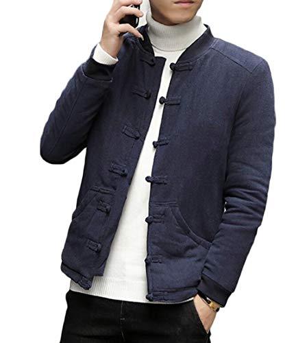 Outwear Foderato Pile Maschile Retro Blu Ttyllmao Di In Pelliccia Rana Cotone Bottone Marina Di THxzpFn
