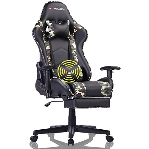 EAVANCEL Silla Gaming Sillones de Oficina Reclinable Ergonomica con Reposapies Retractil con Masaje Lumbar para Gamer (Camuflaje)