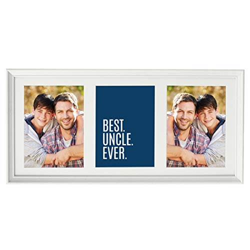 Framed Multi Photo Collage - Andaz Press 20.5-Inch Framed Collage Picture Wall Art Gift, Best Uncle Ever, 1-Pack, Christmas Birthday, Includes Multi Photo White Frame to Display Three 5x7-Inch Photos or Art