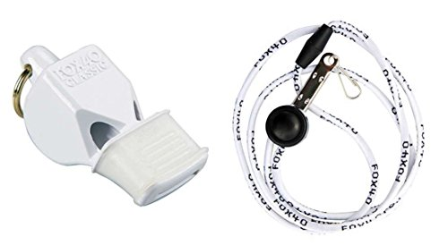 Fox 40 Classic CMG Whistle with Cushioned Mouth Grip With Lanyard - White