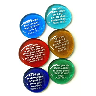 Lifeforce Glass Scripture Glass Stones,Six of Your Favorite Inspiring Bible Verses on Translucent and Opaque Rocks Set II: Home & Kitchen