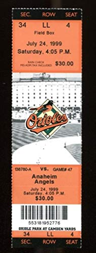 1999 Angels v Orioles Full Ticket 7/24 Cal Ripken Jr. 2 HRs 43554