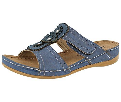 Gezer Ladies Faux Leather Cut Out Summer Slip On Lightweight Low Wedge Mule Sandals Shoe 3-8 Blue