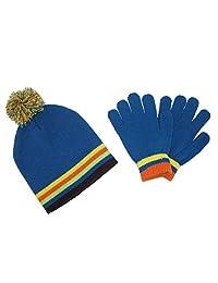 CTM® Kids' Knit Striped Hat and Gloves Winter Set, Blue