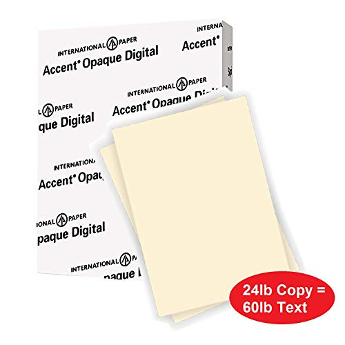 Accent Opaque Warm White Paper, 24lb / 60lb Paper Text, 89gsm, 8.5x11, 97 Bright, 1 Ream / 500 Sheets - Smooth, Text Heavy Paper (188123R) (60lb Text Paper)