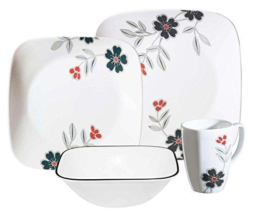 Corelle Square 16-Piece Dinnerware Set, Mandarin Flower, Service for 4