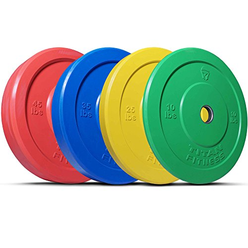 Titan 230 lb Set of Olympic Bumper Plates Benchpress Strength Training Power WOD