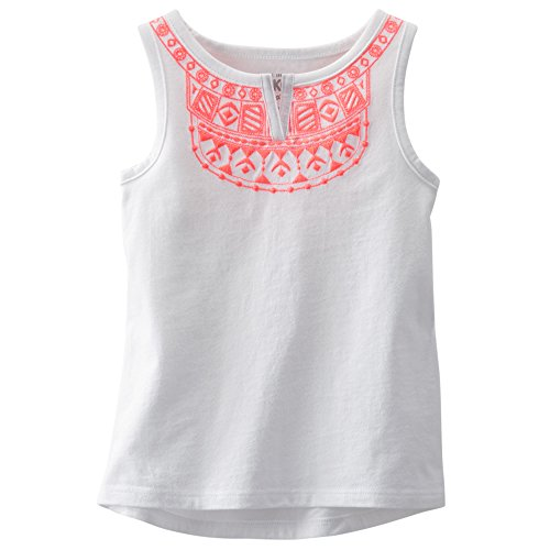 OshKosh Girls Embroidered Boho Tank, White, 7 (Osh Kosh Cami)