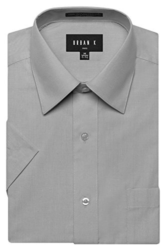 URBAN K Men's Classic Fit Solid Formal Collar Short Sleeve Dress Shirts Regular and Plus Size light Grey L / 16-16.5 N
