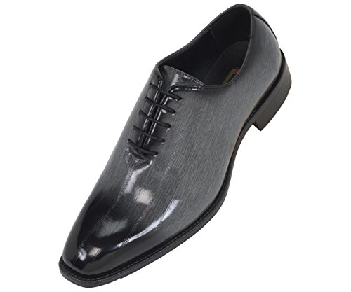 Bolano Mens Exotic Faux Eel Skin Print Oxford Dress Shoe in Grey and Black: Style Brayden Grey-011