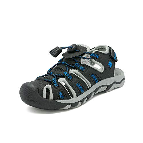 DREAM PAIRS Little Kid 160912-K Black Grey Royal Blue Outdoor Summer Sandals Size 2 M US Little Kid