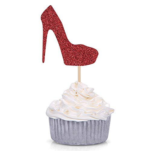Pack of 24 Red Glitter High Heel Cupcake