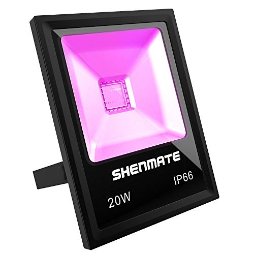 Outdoor Black Light, SHENMATE 20W UV Flood Light IP66 Waterproof Blacklight for Fluorescent Poster Tapestry, Body Paint, Gym, Glow in The Dark Birthday Party and Christmas New Year Decoration -