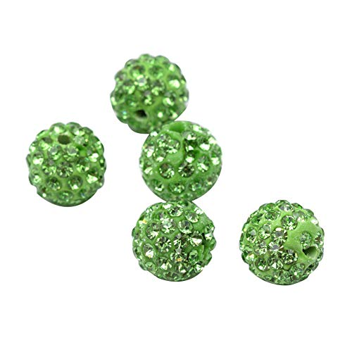 PH PandaHall About 100 Pcs 10mm Clay Pave Disco Ball Czech Crystal Rhinestone Shamballa Beads Charm Round Spacer Bead for Jewelry Making Green 10 Mm Pave Ball