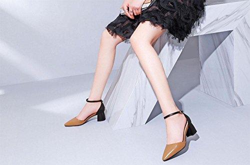 MEILI Dick mit einer spitzen Schnalle in der Luft mit Hit Farbe weiblichen Sandalen Karamell farbe