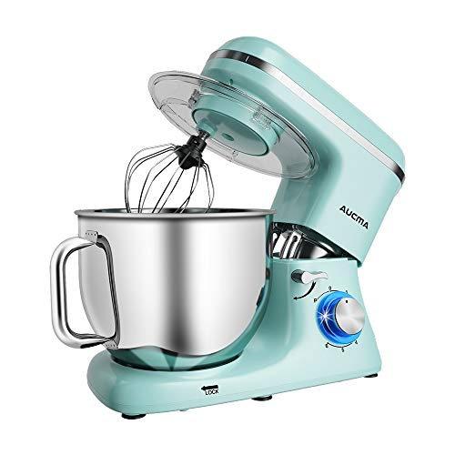 Aucma Stand Mixer,7.4QT Kitchen Food Mixer, Electric Mixer with Dough Hook, Wire Whip & Beater