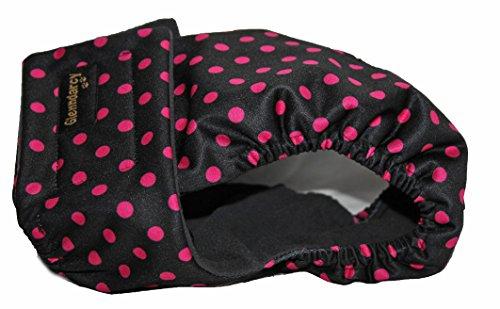 Schutzhose für läufige Hündinnen, schwarz mit rosa, Größe M (38,5-44,5 cm)