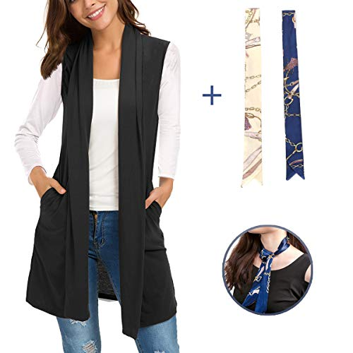 Tunic Length Vest - Women Sleeveless Cardigan-Shawl Draped Open Front Long Vest Tunic Top with Pockets and Side Slit (Black, L)