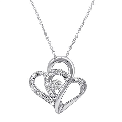 Sterling Silver Diamond Heart Pendant-Necklace (1/5ct - 20 inch Chain)