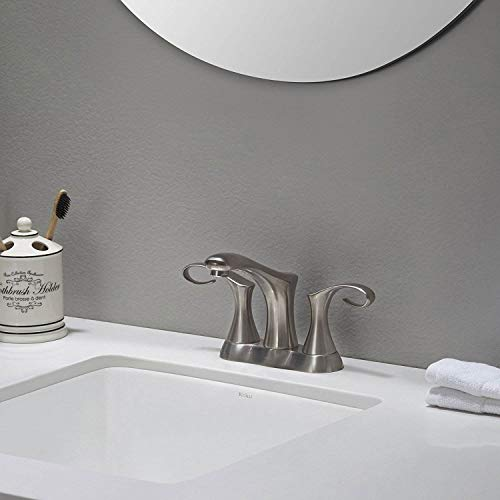 "Kraus FUS-13102BN Cirrus Centerset 2-Handle Bathroom Faucet, 4"", Brushed Nickel"