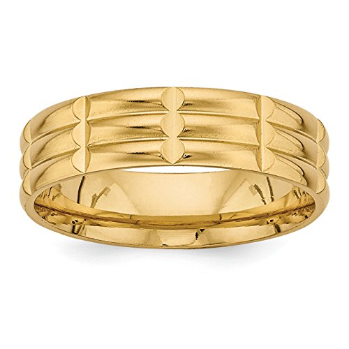 Comfort Fit Fancy Wedding Band - 14k Yellow Gold Standard Comfort Fit Fancy Wedding Band Size 9