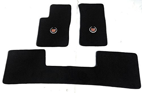 Avery's Floor Mats Part Compatible with Cadillac SRX (All Wheel Drive Model) 3 Pc (2 Fronts / Rear Runner) Black Custom Fit Carpet Floor Mat Set with Cadillac Crest Logo on Fronts - Fits 2004-2009