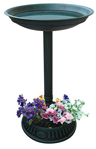 Alpine Corporation Plastic Birdbath with Planter - Outdoor Decor for Garden, Patio, Deck, Porch - Green ()