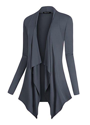 Urban CoCo Women's Drape Front Open Cardigan Long Sleeve Irregular Hem (XL, Slate) (Sweater Cardigan Collar)