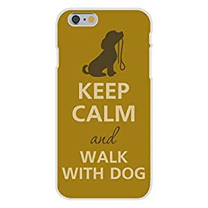 Apple iphone 4 4s Custom Case White Plastic Snap On - Keep Calm and Walk With Dog w/ Leash