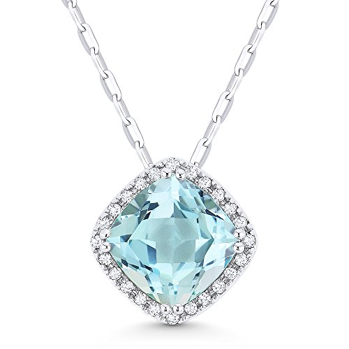 Blue Topaz Pendant Diamond Aa - 14K White Gold Cushion Cut Swiss Blue Topaz and Diamond Pendant