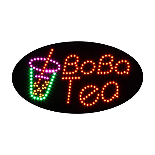 LED Bubble Tea Open Light Sign Super Bright Electric Advertising Display Board for Juice Bar Boba Tea Smoothie Coffee Cafe Business Shop Store Window Bedroom Decor 27 x 15 inches ()