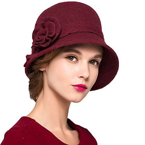 MaitoseTM Women's Wool Felt Flowers Church Bowler Hats Wine Red