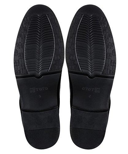 Toto H210311-3 Inches Høyere - Høyde Økende Heis Sko - Sort Patent Skinn Kjole Sko