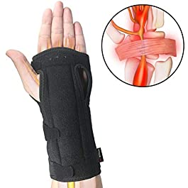 Wrist Brace Carpal Tunnel for Night, Comfortable and Adjustable Wrist Support with Soft Cushion for Sleep, Hand Brace with Splint for Wrist Pain, Fit for Both Left Hand and Right Hand – Single