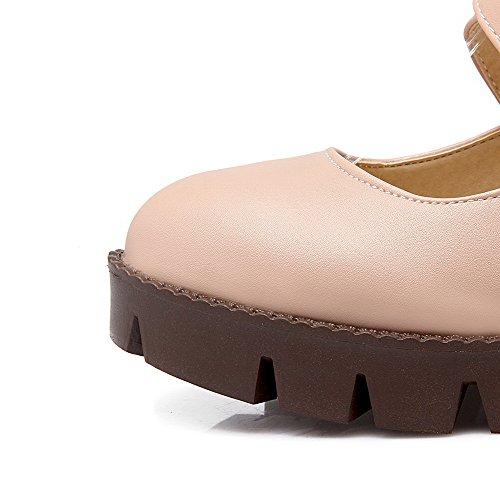 À Boucle Agoolar Chaussures Légeres Femme Rose Talon Unie Correct Rond Couleur BwTqwU4
