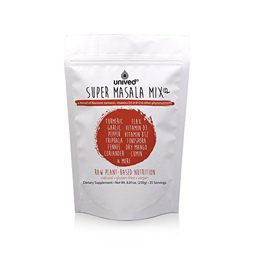 Unived Super Masala Mix, Healthy Spice Blend of Turmeric, Ashwagandha, Mango, Flax, Tulsi, Holy Basil, Amla, Vegan Vitamins B12 & D3 (Lichen), and More, 8.8 Oz (250gram)