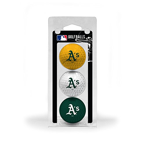 Team Golf MLB Oakland Athletics Regulation Size Golf Balls, 3 Pack, Full Color Durable Team Imprint (Athletics Gift Oakland)