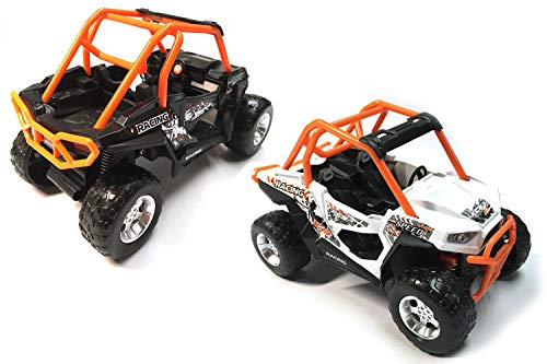 HCK Set of 2 Off Road Quad Vehicle ATV 4x4 Pull Back Toy Cars w/ Suspensions 1:32 Scale (Black/White)