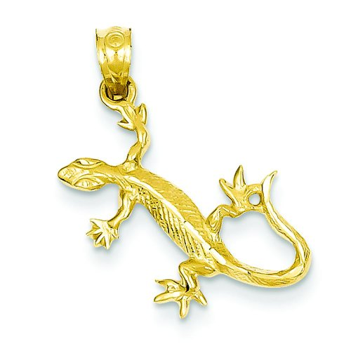 14K Yellow Gold Gecko Lizard Charm Reptile Pendant ()