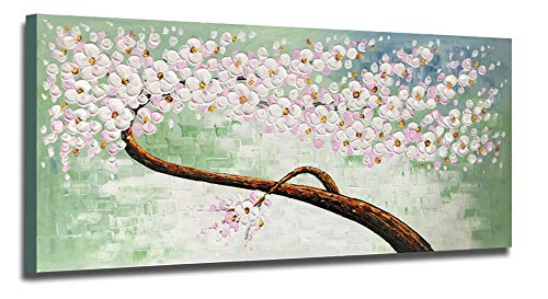 Hand Painted Oil Painting Canvas Wall Art 3D Abstract White Floral Tree 48