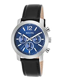 Bulova 96A160 Men's Chronograph Black Genuine Leather Blue Textured Dial Watch