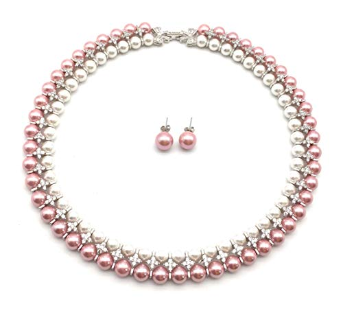 xinpeng Double Strand 8mm Round Pink White Simulated Shell Pearl Necklace Stud Earrings Hand Knotted Choker Handmade Bridal Jewelry Set for Women 18
