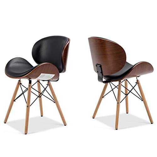 Belleze Set of (2) Mid-Century Upholstered Faux Leather Walnut Finished Curved Back Dining Kitchen Accent Chair, Black
