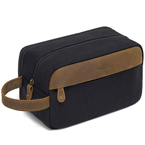 Vintage Toiletry Bag,VASCHY Water Resistant Leather Canvas Dual Compartments Travel Kit,Shaving Dopp Kit Portable Travel Accessory Black